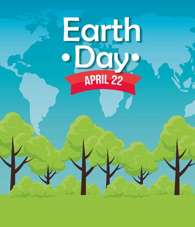 trees conservation to earth day celebration vector illustration
