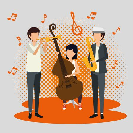 men and woman play music instrument vector illustration