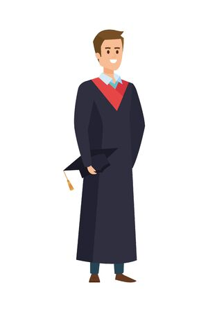 young man student graduated with hat vector illustration design  イラスト・ベクター素材