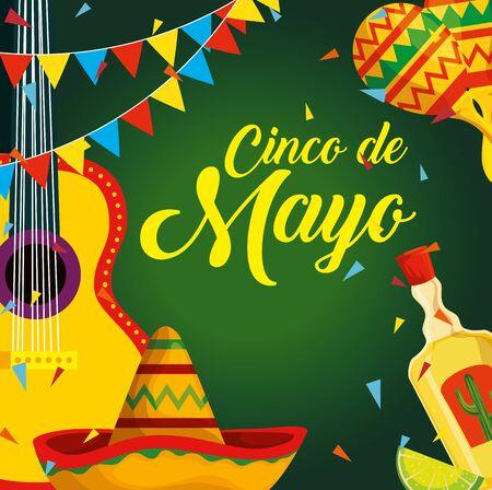 chitarra messicana con cappello e tequila per l'illustrazione vettoriale dell'evento