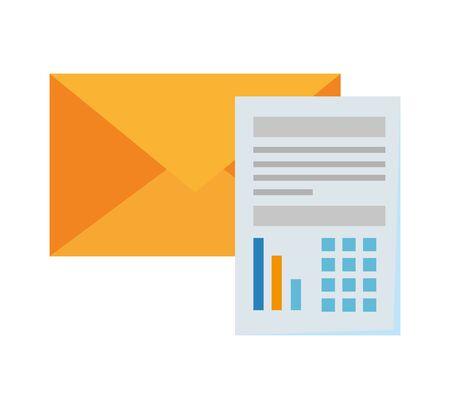paper document financial with envelope vector illustration design  イラスト・ベクター素材