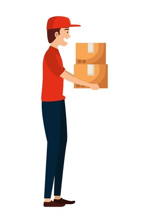 worker of delivery service lifting carton box vector illustration design Çizim