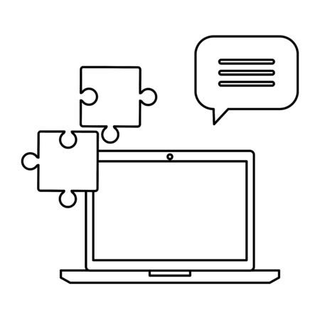 laptop with puzzle pieces and speech bubble vector illustration design Illustration
