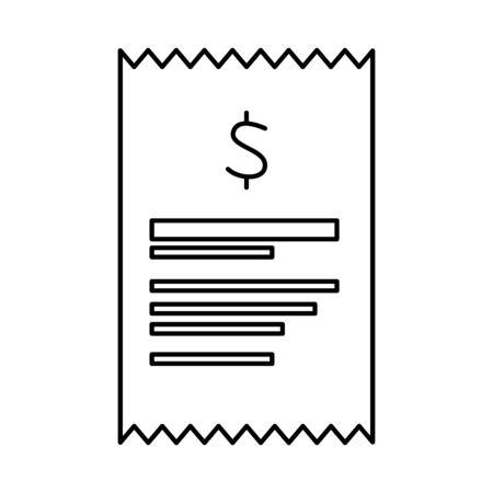 Recibo de papel aislado icono de ilustración vectorial de diseño