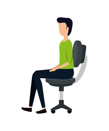 elegant young businessman in office chair vector illustration design