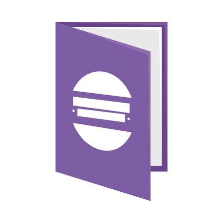 text book with company emblem vector illustration design