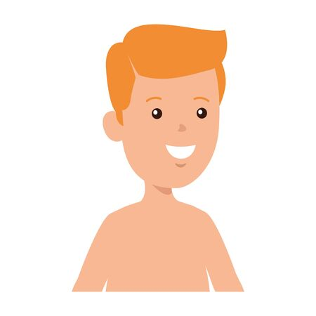 young boy shirtless avatar character vector illustration design