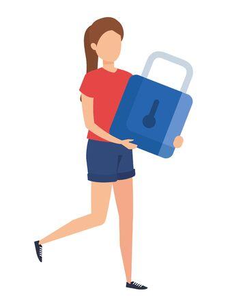 young woman lifting padlock character vector illustration design Stock Illustratie