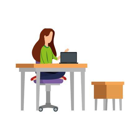 elegant businesswoman working in laptop with drawer vector illustration design