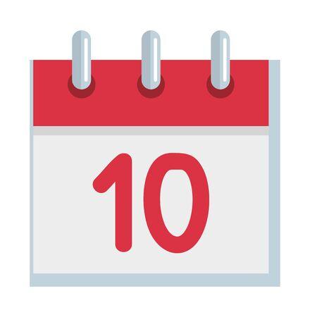 calendar reminder with number ten vector illustration design