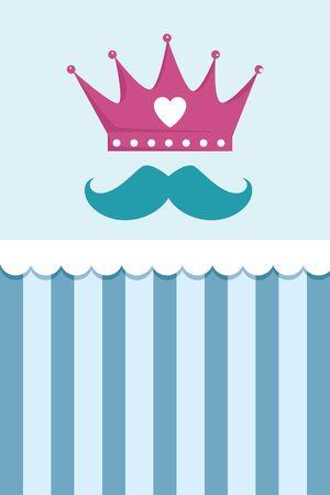 crown with heart and mustache vector illustration design Vektoros illusztráció