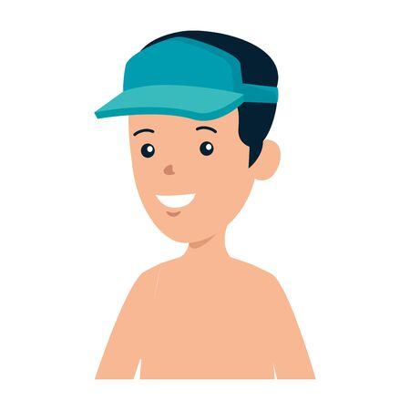 young boy shirtless with sport cap vector illustration design
