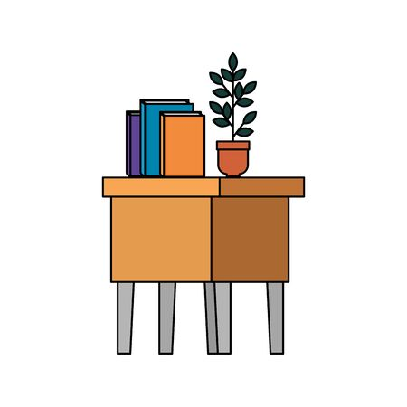 table wooden with books and houseplant vector illustration design Illustration