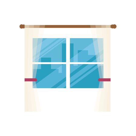 window with cityscape view scene vector illustration design
