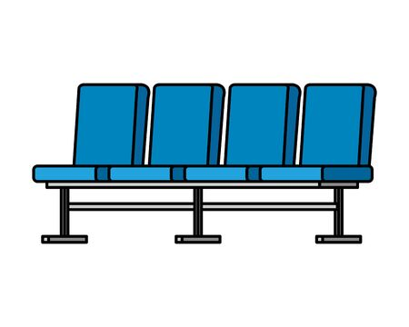 salle d'attente, ensemble, chaises, icônes, vecteur, illustration, conception