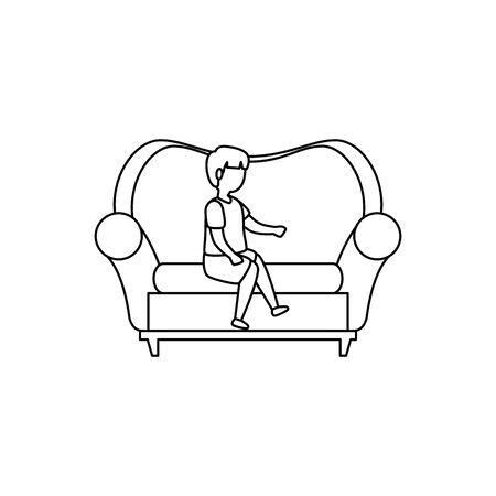 cute little boy seated in sofa vector illustration design Çizim