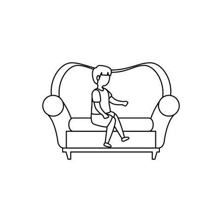 cute little boy seated in sofa vector illustration design Illustration