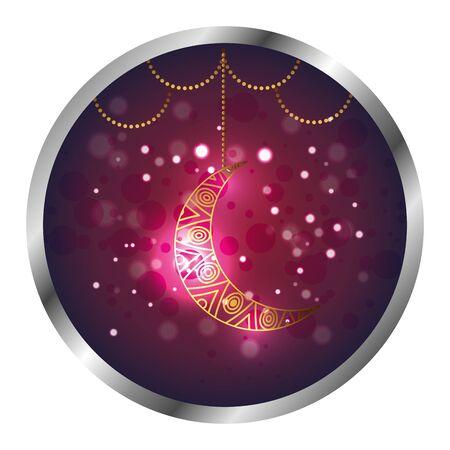 seal with golden moon ramadan kareem vector illustration design Illustration