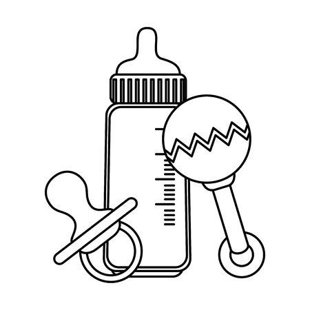 Biberón con chupete y maraca, diseño de ilustraciones vectoriales
