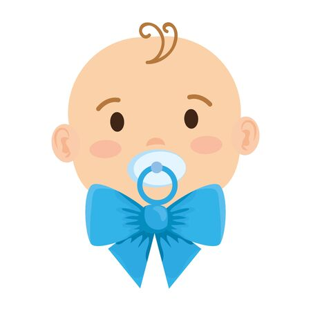 cute little baby boy with pacifier character vector illustration design