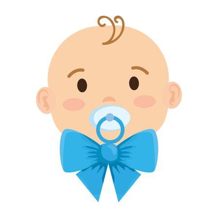 süßes kleines Baby mit Schnullercharakter-Vektor-Illustrationsdesign Vektorgrafik