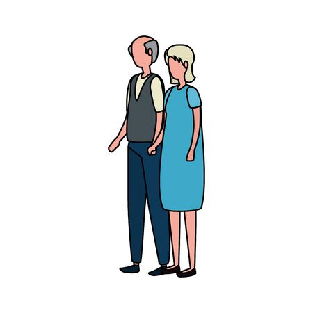 cute grandparents couple avatars characters vector illustration design