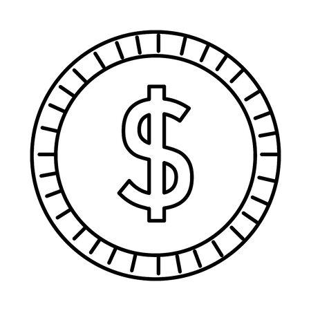 coin money dollar isolated icon vector illustration design