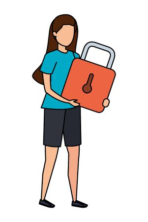 young woman lifting padlock character vector illustration design Banque d'images - 128217041