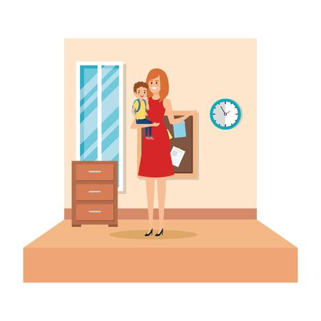 female teacher and little boy in school classroom vector illustration design