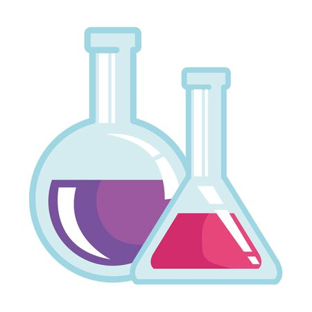 tubes test flasks laboratory supplies vector illustration design