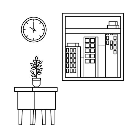 table wooden with houseplant and window vector illustration design Archivio Fotografico - 128228906
