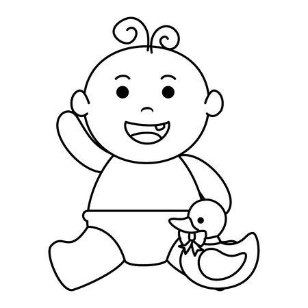 cute little baby boy with ducky vector illustration design Иллюстрация