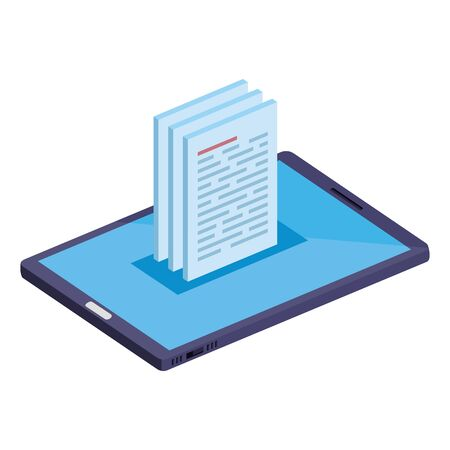 smartphone device with documents icons vector illustration design