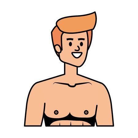 young man shirtless avatar character vector illustration design Stock Vector - 128229032