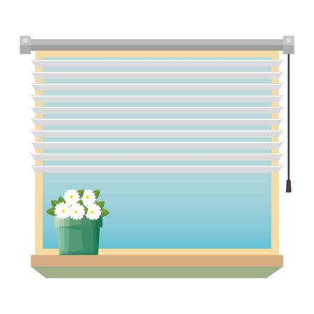 window with blind with house plant indoor scene vector illustration design Ilustracja