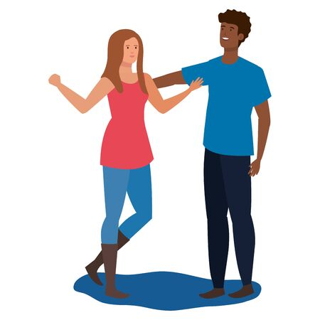 interracial lovers couple celebrating characters vector illustration design Çizim