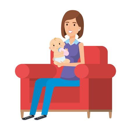 mother lifting little baby seated in sofa vector illustration design