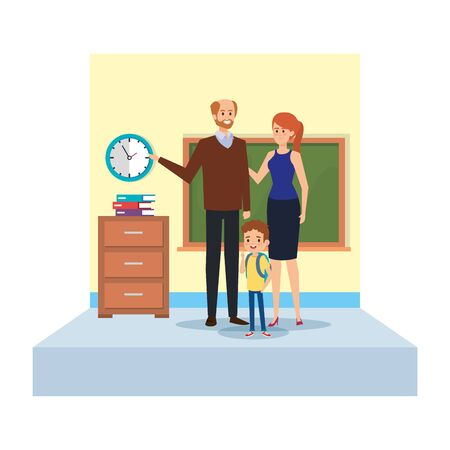 teachers couple with student boy in school classroom vector illustration design