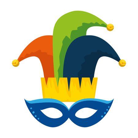 carnival mask with joker hat vector illustration design