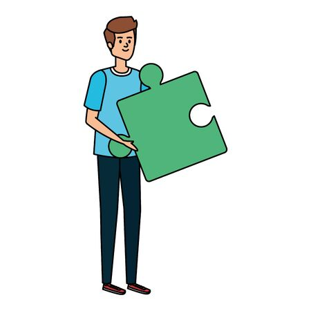young man lifting puzzle game piece vector illustration design