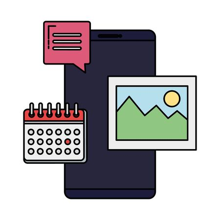smartphone with calendar and picture vector illustration design