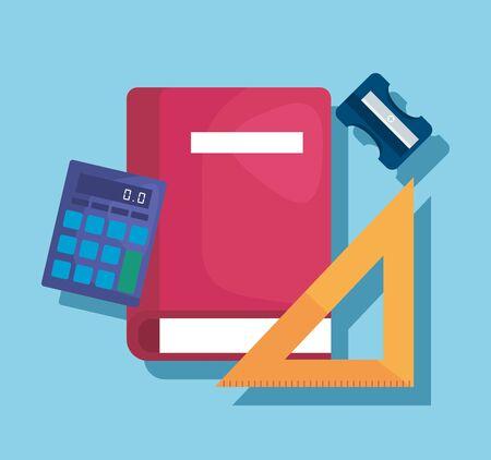 libro con regla triangular y calculadora suministros elementales para volver a la ilustración de vector de escuela Ilustración de vector