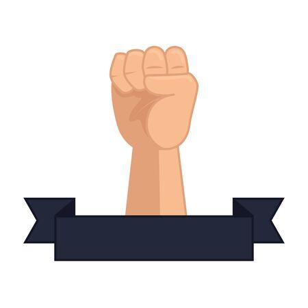 mano arriba, puño, icono, vector, ilustración, diseño