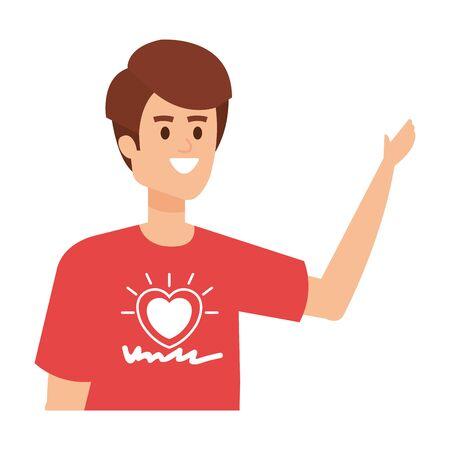 young man volunteer character vector illustration design Illusztráció
