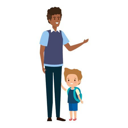 young father with son characters vector illustration design Иллюстрация