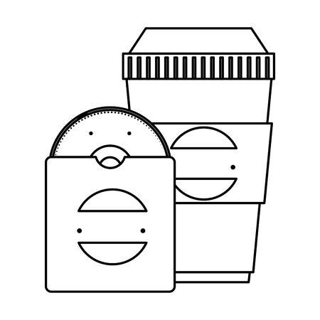 compact disk and beverage container with company emblem vector illustration Ilustração