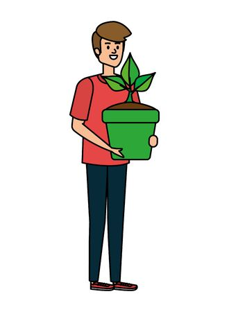 young man lifting houseplant in pot vector illustration design