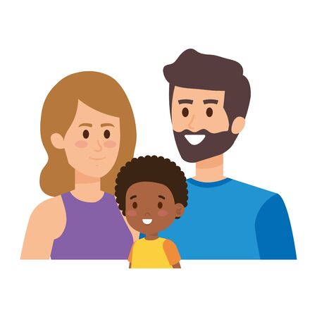 interracial parents couple with son characters vector illustration design Stock Vector - 128312764