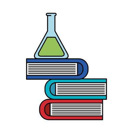 tube test with pile books vector illustration design Ilustración de vector