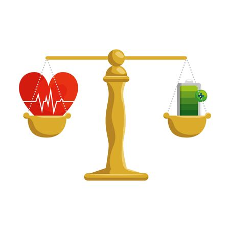 justice balance with heart cardio and energy battery vector illustration Ilustração